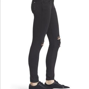 Rag & Bone x Aritiza Black Mid-Rise Distress Jean